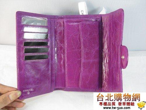 chanel 迷人絢麗 新款長夾 37237紫(油蜡皮)