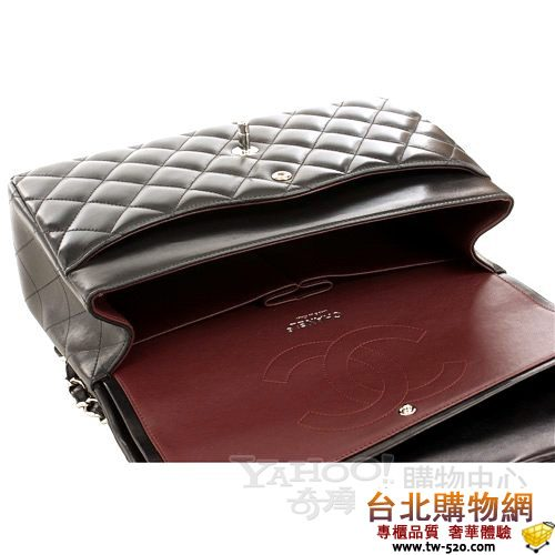 chanel jumbo系列雙蓋設計coco肩背包(黑色/30公分)