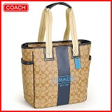 coach 70074 c logo pvc藍色真皮飾邊大款托特包,上架日期:2012-01-19 15:26:01