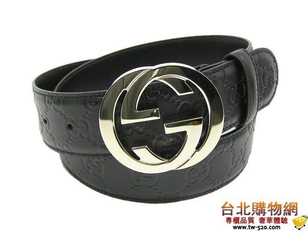 gucci 黑色皮革壓紋皮帶  g114876-1002