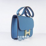 hermes新款包包constance女士單肩包休閒包h017中藍色(金) (女款)