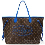 lv s/s 2013最新全球限量品 m40875 限量款monogram neverfull gm肩背包(大-藍色) (女式)