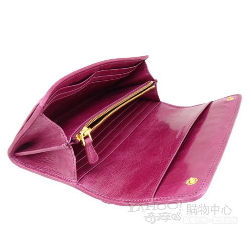 miu miu coffer 經典抓皺設計小羊皮釦式長夾(紫紅)
